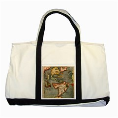 Vintage Map Two Tone Tote Bag