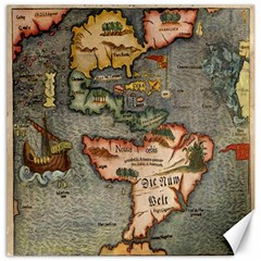 Vintage Map Canvas 16  X 16