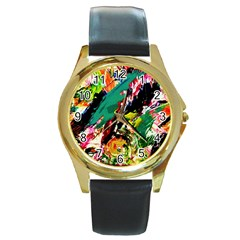 Tulips First Sprouts 2 Round Gold Metal Watch