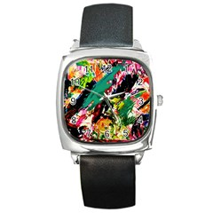 Tulips First Sprouts 2 Square Metal Watch