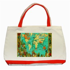 Vintage Map 1 Classic Tote Bag (red)
