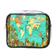Vintage Map 1 Mini Toiletries Bags