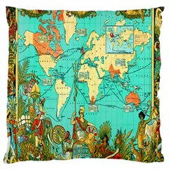 Vintage Map 1 Large Cushion Case (two Sides)
