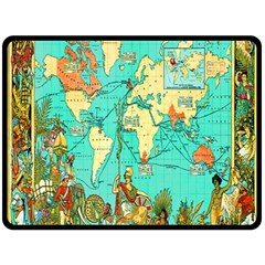 Vintage Map 1 Double Sided Fleece Blanket (large)