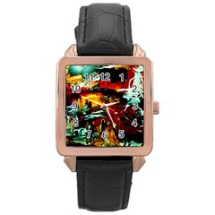 Grand Canyon Sunset Rose Gold Leather Watch