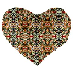 Artwork By Patrick Colorful 31 Large 19  Premium Flano Heart Shape Cushions