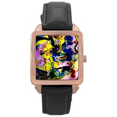 Yellow Roses 2 Rose Gold Leather Watch