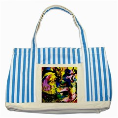 Yellow Roses 2 Striped Blue Tote Bag