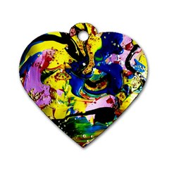 Yellow Roses 2 Dog Tag Heart (two Sides)