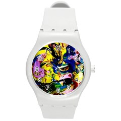 Yellow Roses 2 Round Plastic Sport Watch (m)