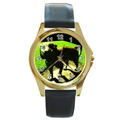 Guard 2 Round Gold Metal Watch