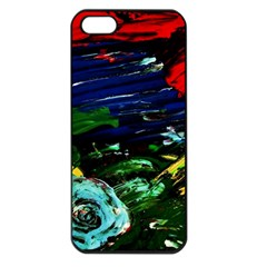 Tumble Weed And Blue Rose Apple Iphone 5 Seamless Case (black)