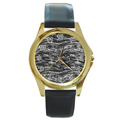 Dark Skin Texture Pattern Round Gold Metal Watch