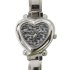 Dark Skin Texture Pattern Heart Italian Charm Watch