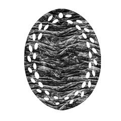 Dark Skin Texture Pattern Oval Filigree Ornament (Two Sides)