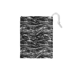 Dark Skin Texture Pattern Drawstring Pouches (small)