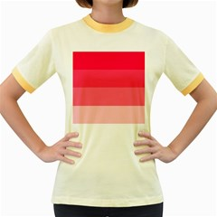 Pink Scarlet Gradient Stripes Pattern Women s Fitted Ringer T Shirts