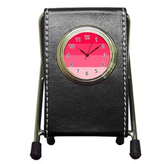 Pink Scarlet Gradient Stripes Pattern Pen Holder Desk Clocks