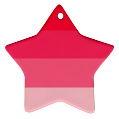 Pink Scarlet Gradient Stripes Pattern Star Ornament (two Sides)