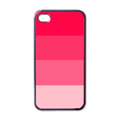 Pink Scarlet Gradient Stripes Pattern Apple Iphone 4 Case (black)