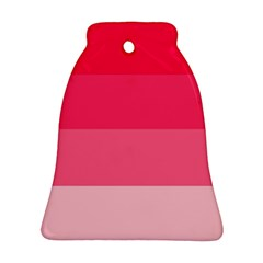 Pink Scarlet Gradient Stripes Pattern Bell Ornament (two Sides)