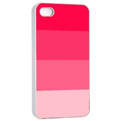 Pink Scarlet Gradient Stripes Pattern Apple Iphone 4/4s Seamless Case (white)