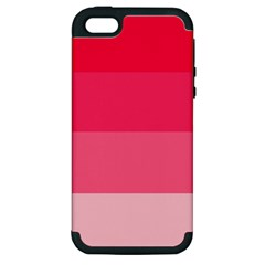 Pink Scarlet Gradient Stripes Pattern Apple Iphone 5 Hardshell Case (pc+silicone)