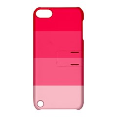 Pink Scarlet Gradient Stripes Pattern Apple Ipod Touch 5 Hardshell Case With Stand