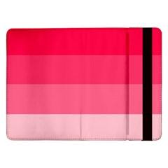 Pink Scarlet Gradient Stripes Pattern Samsung Galaxy Tab Pro 12 2  Flip Case