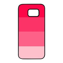 Pink Scarlet Gradient Stripes Pattern Samsung Galaxy S7 Edge Black Seamless Case