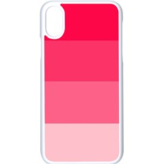 Pink Scarlet Gradient Stripes Pattern Apple Iphone X Seamless Case (white)