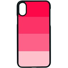 Pink Scarlet Gradient Stripes Pattern Apple Iphone X Seamless Case (black)