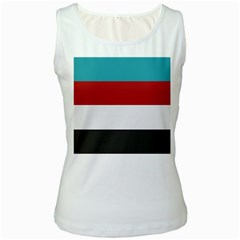 Dark Turquoise Deep Red Gray Elegant Striped Pattern Women s White Tank Top