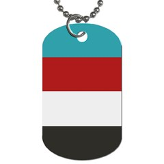 Dark Turquoise Deep Red Gray Elegant Striped Pattern Dog Tag (two Sides)