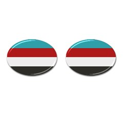Dark Turquoise Deep Red Gray Elegant Striped Pattern Cufflinks (oval)