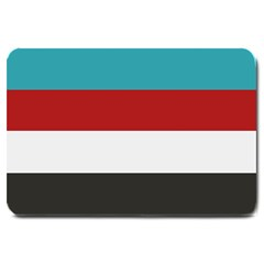 Dark Turquoise Deep Red Gray Elegant Striped Pattern Large Doormat  by yoursparklingshop