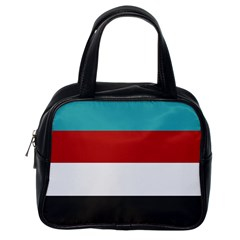 Dark Turquoise Deep Red Gray Elegant Striped Pattern Classic Handbags (one Side)