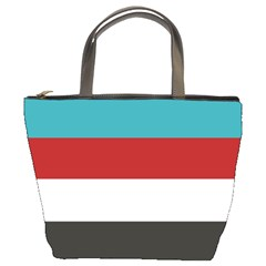 Dark Turquoise Deep Red Gray Elegant Striped Pattern Bucket Bags