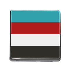 Dark Turquoise Deep Red Gray Elegant Striped Pattern Memory Card Reader (square) by yoursparklingshop