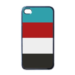 Dark Turquoise Deep Red Gray Elegant Striped Pattern Apple Iphone 4 Case (black)