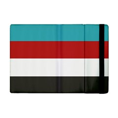 Dark Turquoise Deep Red Gray Elegant Striped Pattern Apple Ipad Mini Flip Case by yoursparklingshop