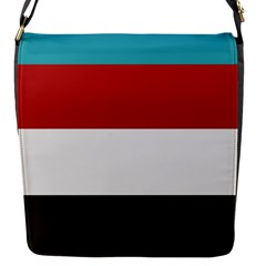 Dark Turquoise Deep Red Gray Elegant Striped Pattern Flap Messenger Bag (s) by yoursparklingshop