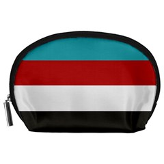 Dark Turquoise Deep Red Gray Elegant Striped Pattern Accessory Pouches (large)