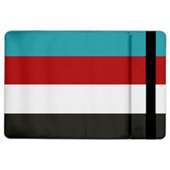 Dark Turquoise Deep Red Gray Elegant Striped Pattern Ipad Air 2 Flip