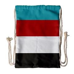 Dark Turquoise Deep Red Gray Elegant Striped Pattern Drawstring Bag (large)
