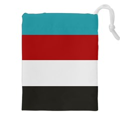 Dark Turquoise Deep Red Gray Elegant Striped Pattern Drawstring Pouches (xxl)