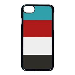 Dark Turquoise Deep Red Gray Elegant Striped Pattern Apple Iphone 7 Seamless Case (black)