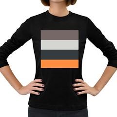 Orange Sand Charcoal Stripes Pattern Striped Elegant Women s Long Sleeve Dark T Shirts