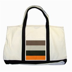 Orange Sand Charcoal Stripes Pattern Striped Elegant Two Tone Tote Bag