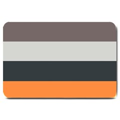 Orange Sand Charcoal Stripes Pattern Striped Elegant Large Doormat